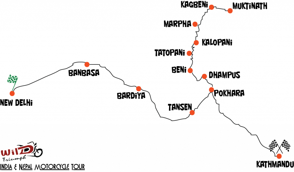 India & Nepal Route Map
